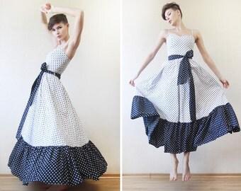 VERA MONT White black polka dot cotton full circle belted maxi dress XS