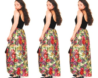 Black Velvet Floral Maxi Dress // Vintage Prom Dress // Size Small // Long Metallic Dress