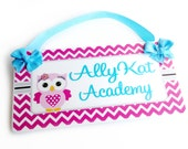 teacher academy gift pink chevron and owl door sign classroom theme sign - all colors available - P275