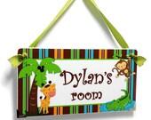 jungle animals kids bedroom door sign - monkey aligator giraffe - brown green - boys gift - P172
