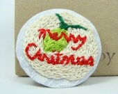 Hand Embroidered Christmas Light Pin / Brooch - Green light, Merry Christmas