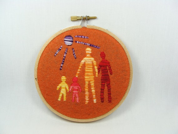 Hand Embroidered Family Wall Hanging - colorful decoration, 4 inch hoop, custom color available, under the sun, home decor
