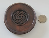 "3.5"" Carved Indian Rosewood Lid / Cover for Antique Chinese Porcelain Ginger Jar Vases or New Studio Pottery"