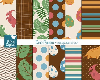 SALE Dinosaur Digital Papers - Dino Scrapbooking Papers - card design, invitations, stickers, paper crafts, web design - INSTANT DOWNLOAD