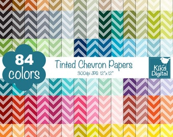 Tinted Chevron Digital Papers - Rainbow Scrapbook Papers - Huge Paper Pack- INSTANT DOWNLOAD