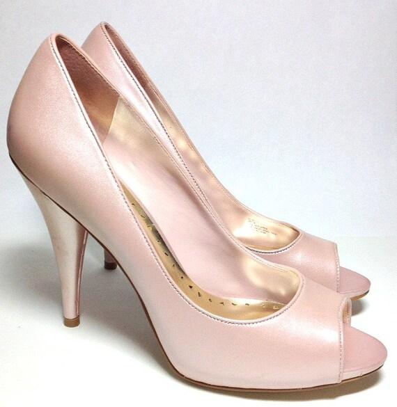 bcbg pink leather high heel shoes of vintage