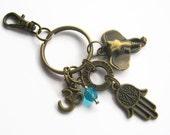Hamsa Om Keychain, BRONZE Hamsa Elephant Zipper Pull, Believe Infinity Keychain, Yoga Personalized Accessory, Aum, Hindu Buddhist, Namaste