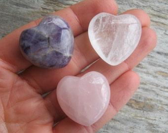 SET Of 3 Gemstone Hearts, Amethyst Heart, Rose Quartz Heart, Quartz Crystal Heart, 30mm Pocket Gemstone Hearts, Chakra Stones, Metaphysical