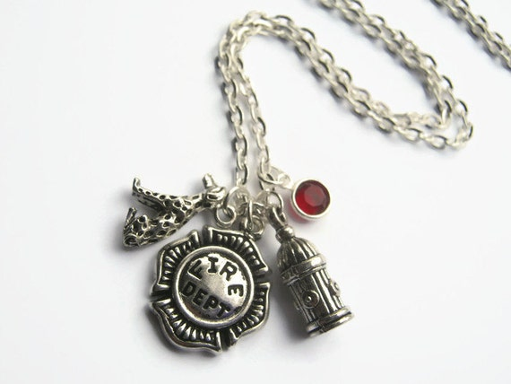 firefighter necklace department shield jewelry fireman