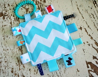 Baby Boy Toys, Crinkle toys, Aqua Blue Chevron print, 5 inch crinkle toy,  1 teething link,  Babies love these. Can be personalized.