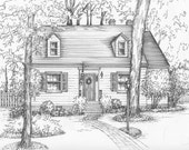 House Drawn in Ink - Matted Portrait of your Home, Custom home decor, Family artwork, Ancestral home