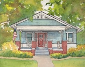 """Watercolor House Portrait,  5""""x 7"""" matted personalized house sketch, Home portrait with pets,"""