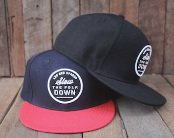 Snap back baseball cap // wool/acrylic hat with embroidered patch