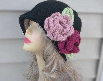 Crochet Flapper Hat Black Hat with Flower Crochet Winter Hat Womens Accessories Hair Accessories