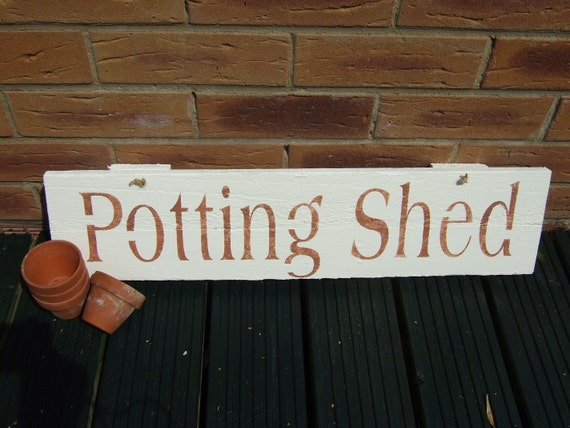 Reclaimed wooden 39 potting shed 39 sign by sarahbenning on etsy for Buy potting shed