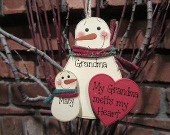 My Grandma Melts My Heart Personalized Ornament
