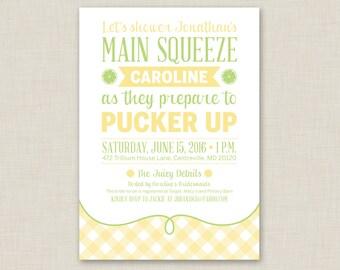 Printable / Pucker Up / Lemon Bridal Shower Invitation / Summer Bridal Shower