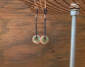 Hardware Earrings - Copper and Turquoise Patina Washers on Hemp:  Washer Jewelry