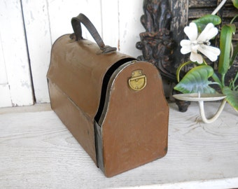 Antique 1913 Rare Sliding Industrial Metal Tin Work Lunch Box French Country Farmhouse Caddy Tote Primitive Cottage Mid Century Modern