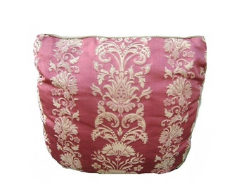 French Country Cottage Farmhouse Decorator Pillow Vintage 1980s Rose Salmon Pink Brocade Architectural Floral Urns 24 inch Romantic Accent