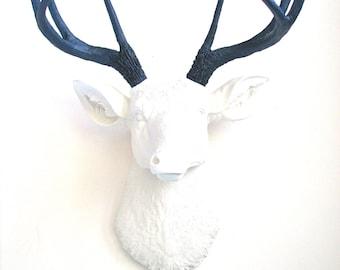 WHITE w/ NAVY BLUE Antlers Faux Taxidermie Deer Head wall mount wall hanging home decor:  Deerman the Deer Head /  office / kids room / stag