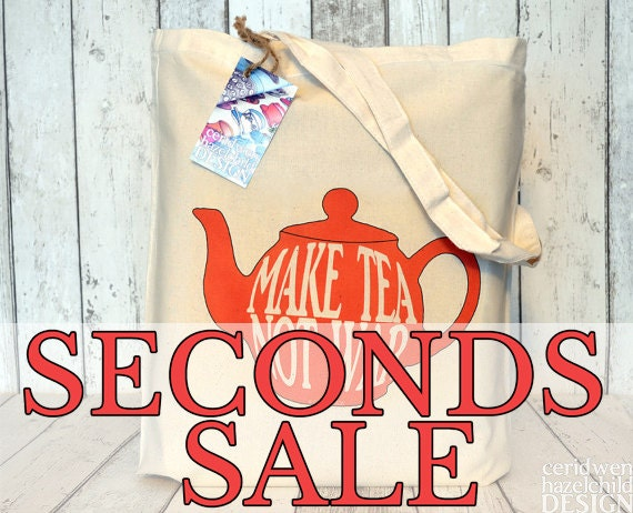SECONDS SALE Make Tea Not War Red Teapot Tote Bag