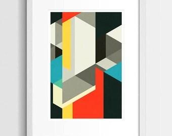 Bauhaus Art Print, Abstract Art, Geometric Art, Modern Art Print, Modern Abstract, Living Room Art, Contemporary Abstract, 8x10, 11x14, A3