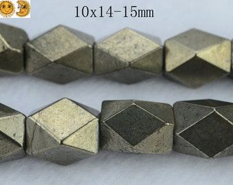 15 inch strand of natural golden Iron Pyrite faceted nugget beads 10x14-15mm