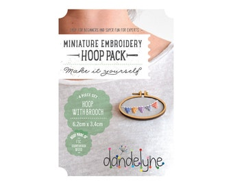 62mm x 34mm OVAL miniature embroidery hoop with brooch back - make a brooch - unique Dandelyne miniature hoop