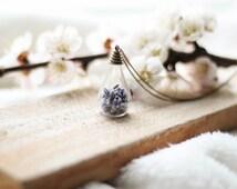Terrarium Lavender Bottle Necklace, Preserved Lavender Bottle Pendant, Real Flower Pendant, Nature Pendant, Spring Trends, Dried Flower