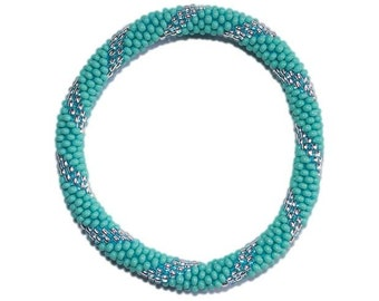 Turquoise Blue and Silver Crocheted Beaded Bracelet, Czech Seed Beads,Nepal, PB325