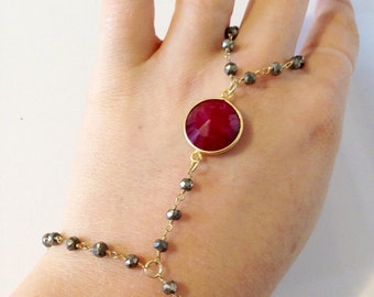 Pyrite and Ruby Handchain