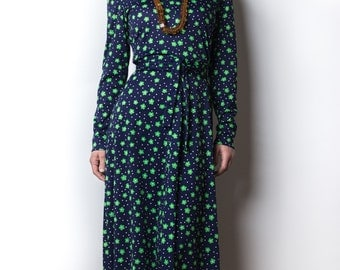 1960's Saks Fifth Avenue Astral Flower Print Maxi Dress