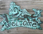 Cast Iron Mermaid Welcome Sign