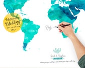 Personalized Map Guest Book, Modern Guestbook, Book Alternative,  Wedding Poster Guest Book Gift Ideas, Bride and Groom - Ocean Tides Color