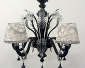 Authentic Italian Murano Black and Crystal Hand Blown Glass Chandelier with Rubelli Fabric Lamp Shades - Made in Venice