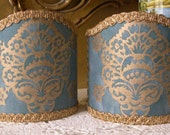 Pair of  Wall Sconce Clip-On Shield Shades Fortuny Fabric Blue & Gold Veronese Pattern Half Lampshade - Handmade in Italy