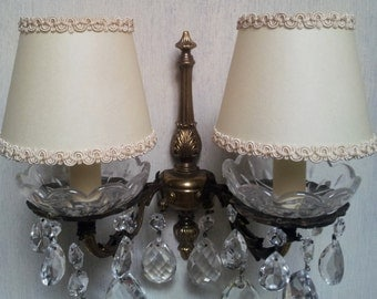 Pair of Chandelier Wall Sconce Clip On Lamp Shades in Cream Parchment - Made in Italy
