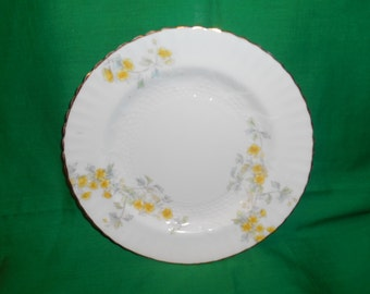 "One (1), 7"" Bone China, Luncheon / Salad Plate, from W.A.A. & Co (Adderley) in the 4834 Hawthorn Sprigs Pattern"