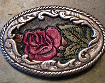Rose Belt Buckle 1970's Pewter Leather Red Will you be my Valentine?