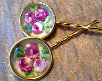 Decorative Hair Pins Jewelry Woodland Embroidered Purple Lavender Flower Hairpins Bobby Pins