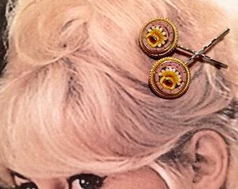 Decorative Hair Pins Jewelry Pink Yellow Micro Mosaic Hairpin Bobby Pins