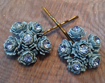 Decorative Hair Pins 1940's Bridal Blue Rose Rhinestone Hairpins Bobby Pins