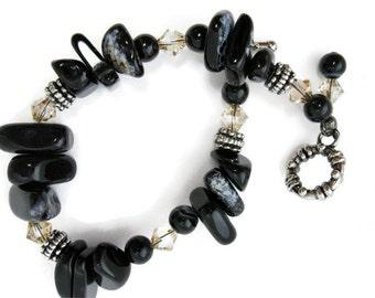 Black Onyx Bracelet semiprecious gemstone nuggets beadwork swarovski crystal onyx