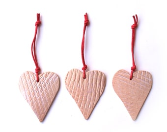 White Cream Heart, Set of 3, White Hearts,  Pottery Ornament, Weding Favor, Weding heart decoration