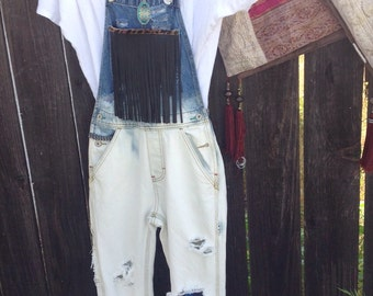 Girls ombre bleached coveralls
