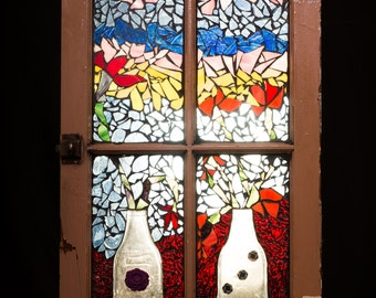 Mosaic Window Vases and Flowers, Stained Glass Window, Home Decor, Vintage Window, Garden Decor, Melted Bottle Art, Wall Hanging, Window Art