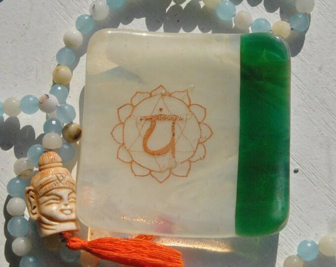 Green/Ivory Heart Chakra Mini Fused Glass Dish
