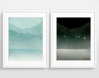 Modern Wall Art Set, Black and White Art, Beach Decor, Bird Art Print, Teal Home Decor, Modern Art Print, Teal Art