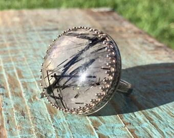 Black tourmaline ring / quartz / decorative bezel